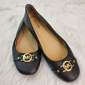 Michael Kors Size 7 Black Saffiano Leather Flats